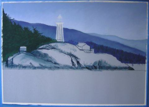 Lighthouse painting step 3: Sky, Hills, Trees.