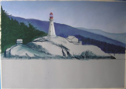 Lighthouse painting step 4: Adding the Lighthouse
