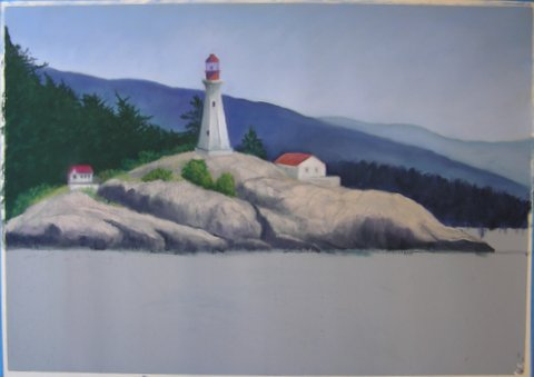 Lighthouse painting step 5: Rocks and Buildings