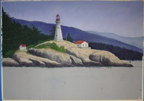 Lighthouse painting step 6: Rocks, Trees, Details