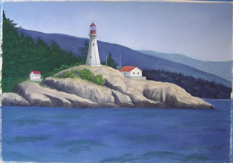 Lighthouse painting step 7: Refine rocks, trees, buildings; underpaint water