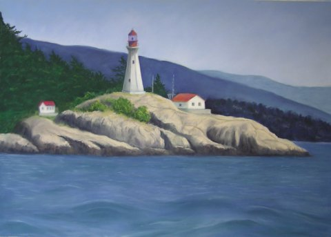 Lighthouse painting step 8: Blend water