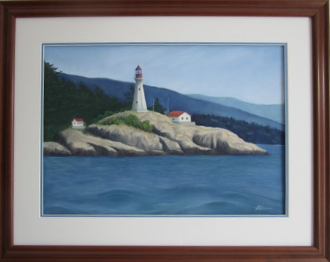 Lighthouse painting step 9: Framed